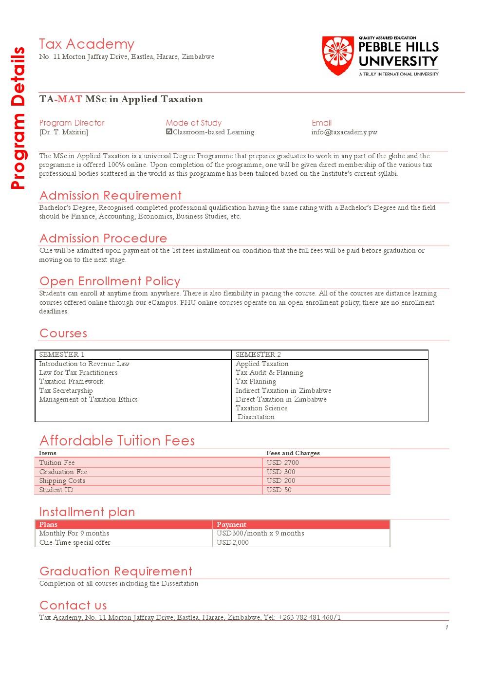 tax dissertation