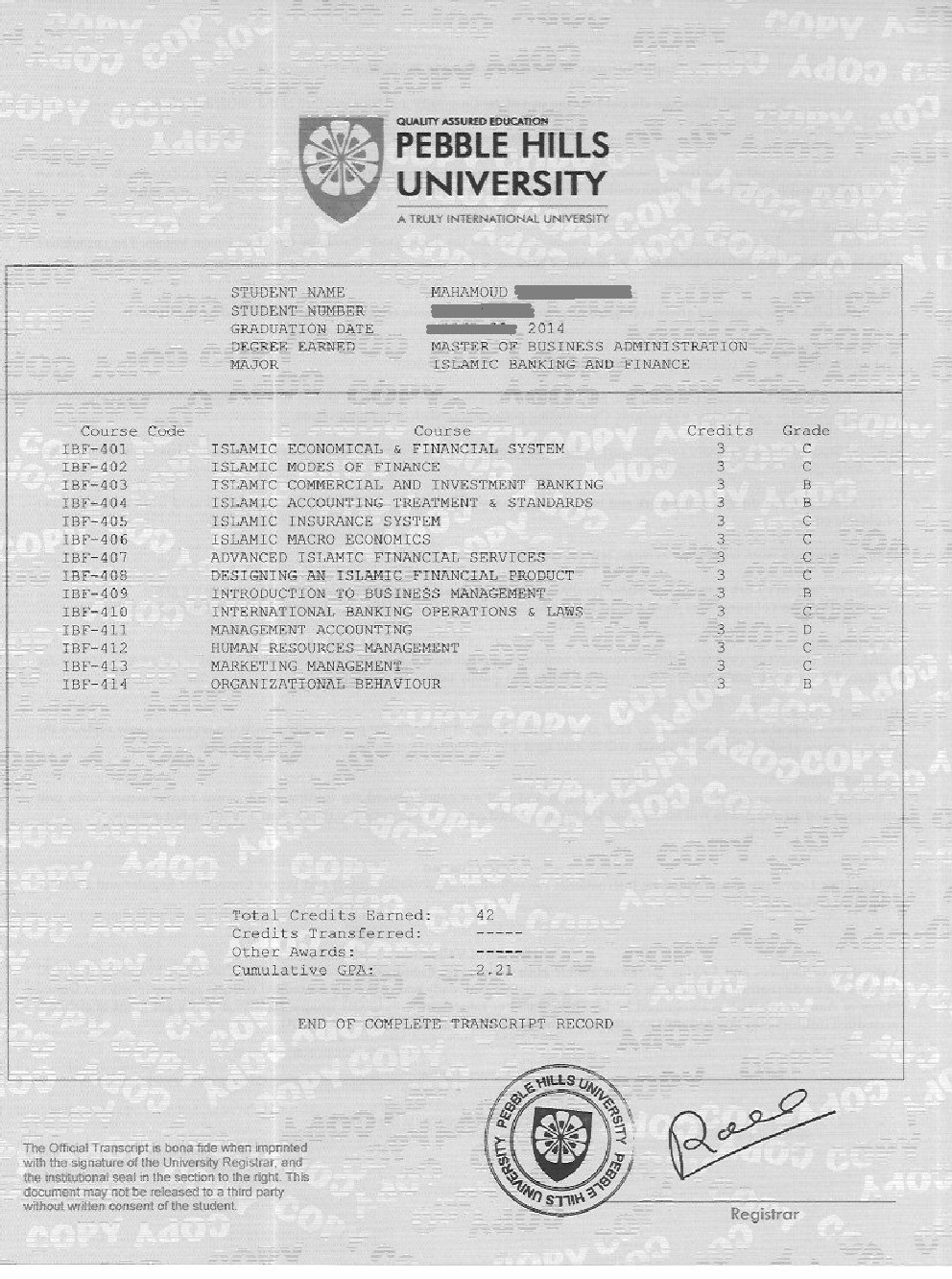 Sample academic transcript